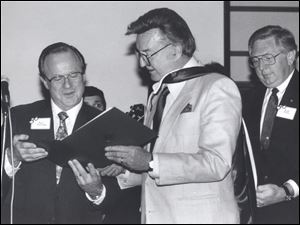 Steve Allen receives an honorary degree in 1991 from Paul Olscamp, then president of Bowling Green State University. Mr. Allen donated manuscripts and recordings to the school.