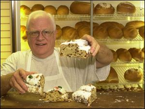 Dennis Haas of Haas Eastwood Bakery makes stollen.