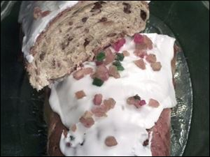 Wixey Bakery bakes German stollen in a loaf; traditionally the bread is folded over.