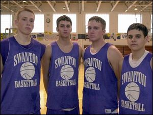 From left, Chris Keesey, Eric Watts, Aaron Redd and Brett McClure are enjoying success as seniors at Swanton.