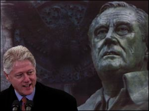 Mr. Clinton, who spoke at the FDR memorial Wednesday, is the only Democrat to be elected since Roosevelt to a second term.