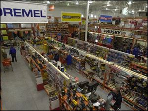 Aisles of tools occupy part of the newly reopened 100,000-square-foot Home Depot in Rossford.