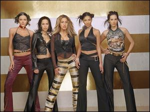 The five women chosen to be members of a singing group on Popstars are, from left, Ana Maria Lombo, Rosanna Tavarez, Ivette Sosa, Nicole Scherzinger, and Maile Misajon.