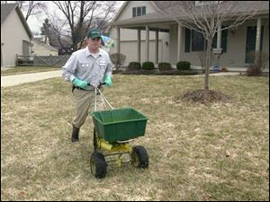 Todd Friend applies granular pre-emergent herbicide to a lawn in Maumee. The chemical stops weed seeds' growing process.
