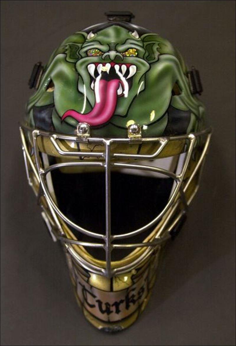 Marty Turco Game Worn Mask - Michigan Wolverines  |Marty Turco Mask