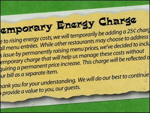 Chi-Chi's Mexican Restaurant has instituted a temporary charge to offset rising energy costs.