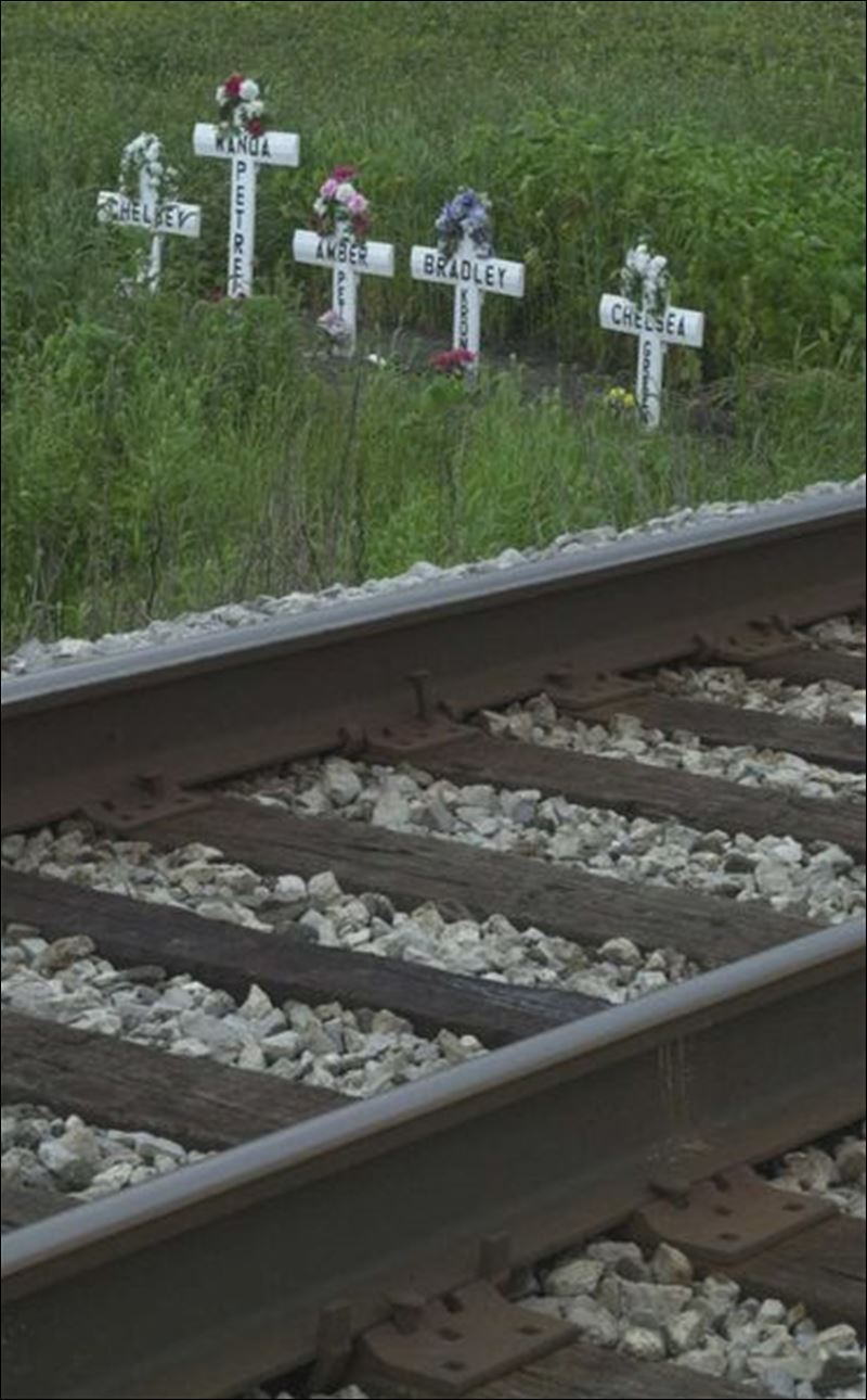 Rally at rail death site calls for gates lights all