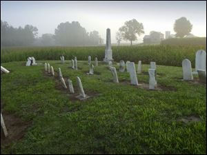 About five dozen graves dating from the 1850s, '60s, and '70s are scattered about Hineline Cemetery in Rice Township.