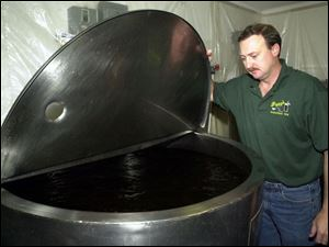 Jeff Nordhaus oversees a portion of the 210 gallons of sassafras tea made daily.