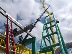 The Wicked Twister under construction will be one of the new attractions when Cedar Point opens for the season May 5.