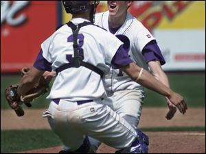 Waite catcher David Quiroga runs to the mound to celebrate with pitcher Justin Sibberson after the Indians stopped Start.