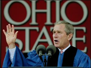 President Bush tells the 6,000 graduates of the class of 2002 in Columbus that American `patriotism is expressed by flying the flag, but it is more.'