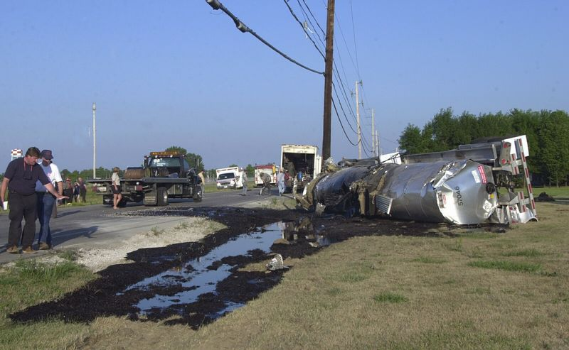 port clinton a tanker truck carrying liquid asphalt