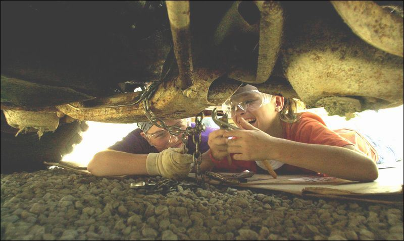 Building Demolition Derby Car : Girl scouts are sold on building car for fair s demolition