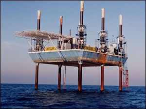 Offshore-drilling platforms operate on the Canadian side of Lake Erie. The eight Great Lakes states prohibit them.