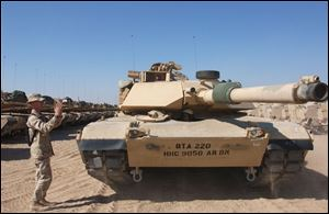 A plant in Lima builds and refurbishes Abrams tanks like this one.