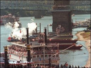 Paddlewheel boats will be featured during the city's Tall Stacks festival along the river.