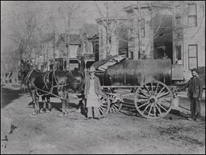 Horse-drawn wagons delivering petroleum products for Sun Oil were a common sight on the streets of Toledo in the late 19th century.