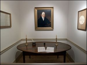 The table on which the constitution was signed is in the Ross County Museum.