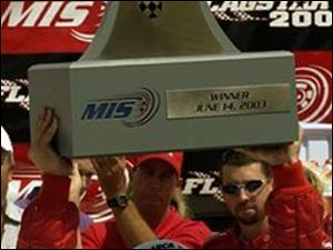 Casey Mears won the ARCA Flagstar 200 yesterday, and has the trophy to prove it.