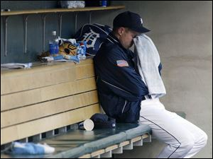 Sometimes the state of the Tigers is enough to make you cry. Here, pitcher Adam Bernero ponders a poor outing.