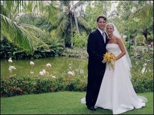 A TROPICAL TOUCH: Joel Hertzfeld and Kara Stahl tied the knot in Punta Cana, Dominican Republic, where flamingoes roam the Iberostar Bavaro Resort.