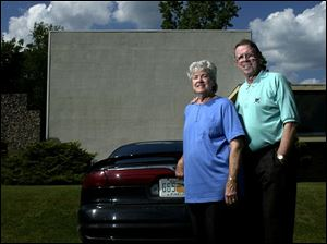 Olive, left, and Terry Lytle show free Christian movies every Saturday and Sunday night at the Devil's Lake Drive-In.