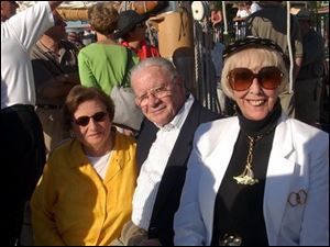 ABOARD THE APPLEDORE IV: From left, Mary and Howard Madigan and Jean Smith at Toledo Club party.