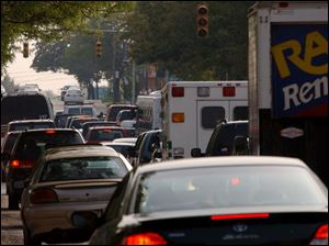Traffic in downtown Toledo was affected along with the rest of the area hit by the enormous blackout on Aug. 14.
