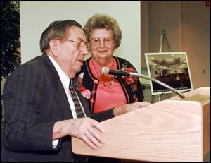 Mr. McMaster and his wife, Helen, are feted at the Mileti Alumni Center at Bowling Green State University in October, 1999, for their donation of $750,000 to the university.