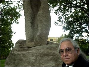 WORK OF ART: <i>Metamorphosis</i>, by Emanuel Enriquez, was dedicated at BGSU in honor of the upcoming 30th anniversary of the Latino Student Union.
