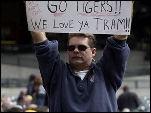 A fan at Comerica Park backs manager Alan Trammell and the Tigers.