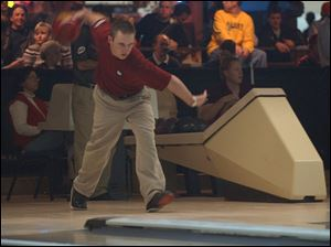 Ronnie Russell upset No. 3 seed Patrick Allen in match play yesterday at Southwyck Lanes.