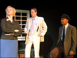 Jean Mills, left, plays Daisy Werthan, Matt Kizaur is her son, Boolie, and Chuck Crockett is Hoke Coleburn in the Toledo Rep's production of <i>Driving Miss Daisy.</i>