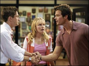 Topher Grace, left, Kate Bosworth, and Josh Duhamel star in <i>Win a Date With Tad Hamilton</i>, a comedy from DreamWorks SKG.