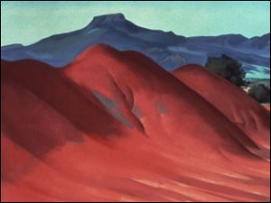 A 1936 oil on linen painting by O'Keeffe, <i>Red Hills with the Pedernal.</i>