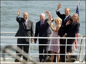 Arriving at Ellis Island, off Manhattan, are, from left, former New York mayor Rudy Giuliani, Vice President Dick Cheney, his wife, Lynne, an unidentified Cheney grandaughter, and Gov. George Pataki of New York and his wife, Libby.