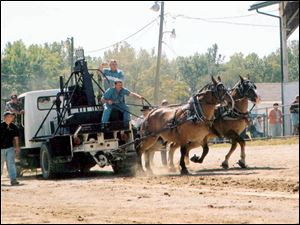 The horsepull competition at last year's Paulding County Flat Rock Creek Fall Festival Gas and Steam Show.