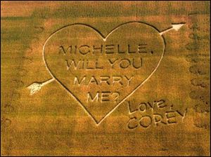Corey Cook's marriage proposal to Michelle See is visible above a cornfield west of Napoleon.