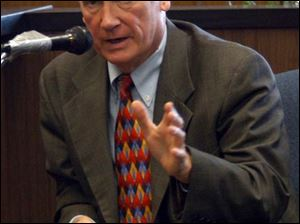 Former Mayor Carty Finkbeiner appears on the witness stand yesterday.