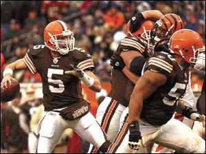 Browns quarterback Jeff Garcia was called 'skittish' by his coach after a loss to Pittsburgh in his previous game, but opened the scoring yesterday with a 99-yard TD pass to Andre Davis - the 10th time that has happened in NFL history. Garcia finished with 310 passing yards.