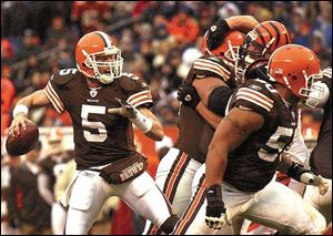 Former Browns quarterback Jeff Garcia, once called 'skittish' by his coach after a loss to Pittsburgh, is now 43 years old and looking for another tryout with the Browns.