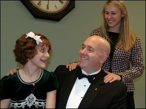 The cast of <i>Annie Warbucks</i> includes, from left, Hayley Reynolds, Chad Lowry, and Kelsey Sczesny.