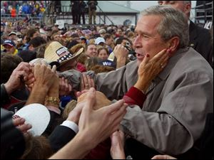 President Bush campaigning in Pennsylvania.