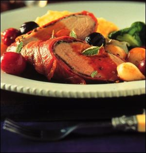 Prosciutto-Wrapped Pork with Roasted Grapes