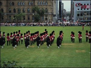 A colorful changing of the guard ceremony can be seen in Ottawa, Canada.