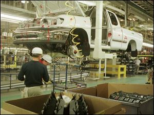 While in Indiana, this Toyota truck plant 30 miles north of Kentucky is an example of auto jobs shifting southward.