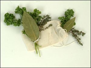 Tie bouquet garni with kitchen string or use a small cheesecloth bag.