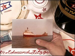 The exhibit at the Way Public Library in Perrysburg features linens and china from the 729-foot freighter and postcards. The ship was caught in a storm in November, 1975, and sank in Lake Superior. The freighter went down in 530 feet of water with the crew of 29.