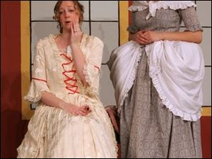 Constance Partley, left, played by Kelly Barkhimer, and the